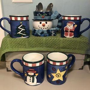 Christmas Holiday Cup Set Snowman and Santa